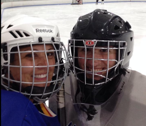 There is always time for a selfie during hockey.